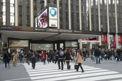 Passengers outside Penn Station New York Royalty Free Stock Photos