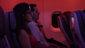Passengers On Plane With Turbulance stock video footage