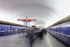 Passengers are on platform at  underground station in  Russian s Stock Photos