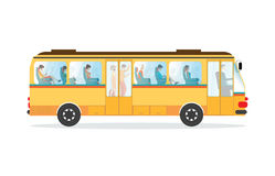 Passengers in public transport bus. Royalty Free Stock Images