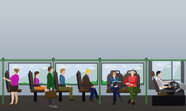 Passengers public transport concept vector banner. People in bus. Interior Stock Images
