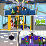 Passengers public transport concept vector banners set. People in bus, train and airplane. Passengers in public transport concept vector banners set. People in Royalty Free Stock Photography