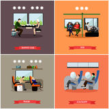 Passengers in public transport concept vector banners set. People in bus, train and airplane. Royalty Free Stock Photo