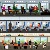 Passengers public transport concept vector banners set. People in bus, train and airplane. Transport interior Royalty Free Stock Image