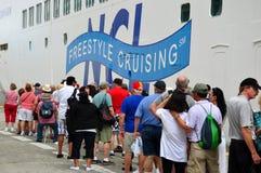 Passengers queue. To board cruise ship Norwegian Gem Stock Photo