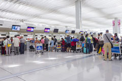 Passengers queuing up in check-in counter in the Hong Kong International Airport Stock Images