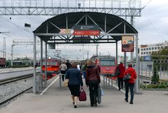 Passengers on the railway platform at the suburban electric trains at Tula station. Stock Photo