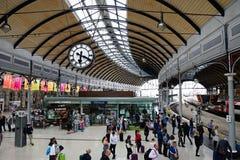 Passengers on railway station platform, Newcastle upon Tyne. stock photography