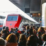 Passengers ready to board the Frecciarossa high speed train at the Venice St. Lucia railway station. Venice, Italy - March 26th, 2018: Passengers ready to board Royalty Free Stock Images