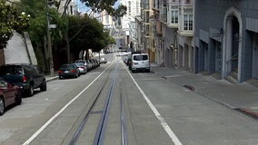 Passengers riding on cable car in San Francisco, CA. SAN FRANCISCO - MAY 17 2015:Passengers riding on cable car in San Francisco, CA.US Department of stock video footage