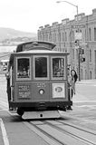Passengers riding on Powell-Hyde line cable car in San Francisco Stock Photos