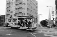 Passengers riding on Powell-Hyde line cable car in San Francisco Royalty Free Stock Photography