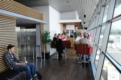 Passengers in Riga International Airport Stock Photography