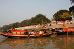 Passengers of a river boat wait for departure Stock Photo