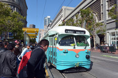 Passengers and San Francisco's original double-ended PCC streetc Royalty Free Stock Photo