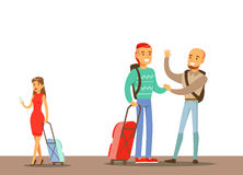 Passengers Saying Goodbyes In The Airport, Part Of People Taking Different Transport Types Series Of Cartoon Scenes With Stock Photo