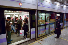 Passengers in Shanghai Metro - China Stock Photo