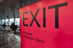 Passengers sit and wait on helsinki vantaa airport near exit and Stock Photography