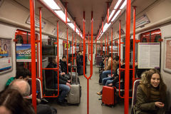 Passengers in subway train interior. Passengers in subway train metro interior in Prague, Czech Republic stock photos