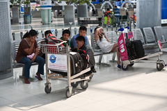 Passengers in Suvarnabhumi International Airport Stock Image