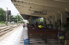 Passengers thai people wait and buy ticket train at Phuttalung l Royalty Free Stock Image