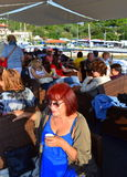 Passengers on tourist ship deck Stock Images