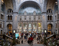 Passengers and tourists at Antwerp Train Stations. Stock Images