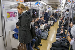 Passengers in train with JR Yamanote line in Tokyo Stock Images