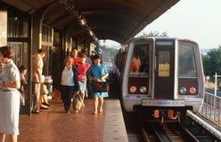 Passengers on Train Platform Stock Images