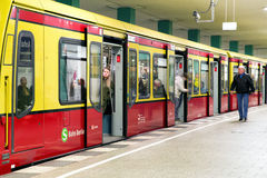 Passengers in train at S-bahn station in Berlin, Germany Stock Photos