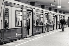Passengers in train at S-bahn station in Berlin, Germany Stock Image