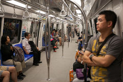 Passengers in the train subway Singapore Stock Photography