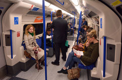 Passengers travel on  London Underground. LONDON, UK - MAY 15 2015:Passengers travel on  London Underground. The Annual passenger numbers of london Underground Royalty Free Stock Photography