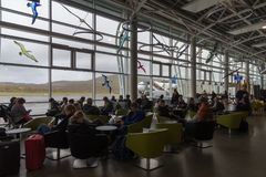 Passengers waiting in Vágar Airport, Faroe Islands, Denmark Stock Images