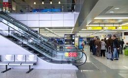 Passengers  wait at Belgrade airport Stock Photo