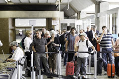 Passengers wait for check-in in Guarulhos Airport on in Sao Paulo, Brazil Royalty Free Stock Image