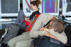Passengers waiting for the air flight at airport Royalty Free Stock Images
