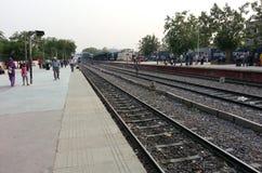 Passengers waiting at Gurgaon station Royalty Free Stock Photos