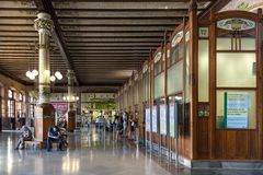 The passengers waiting hall and ticket counters at the Valencia Train station - Estacion del Nord, Spain. Valencia, Spain - July 5th, 2018: The passengers stock photo