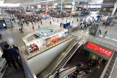 Passengers waiting at Hongqiao Railway Station Royalty Free Stock Photography