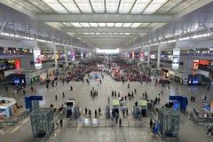 Passengers waiting at Hongqiao Railway Station Royalty Free Stock Images