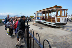 Passengers waiting line to cable car rid at the Fisherman's Whar Stock Photos