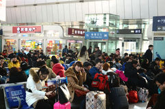 Passengers in waiting lounge. Passengers in waiting lounge during China spring festival transportation Tianjin China photoed on january 29th 2014 Royalty Free Stock Photos