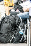 Passengers waiting in station. Backpack and passengers waiting in the station Royalty Free Stock Photos