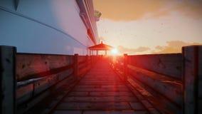 Passengers waiting to embark on cruise ship, timelapse sunrise, sound included