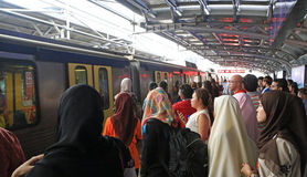 Passengers waiting for a train in Kuala Lumpur Royalty Free Stock Photo