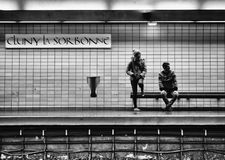Passengers waiting for the train at the metro station of cluny l. Paris, France - January 7, 2018: Passengers waiting for the train at the metro station of cluny Royalty Free Stock Image
