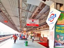 Railway platform of Dimapur railway station. Passengers are waiting for train on one of the railway platform of Dimapur railway station stock photography