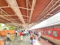 Guwahati railway station platefarm. Passengers are waiting for train on one of the railway platform of Guwahati railway station royalty free stock images