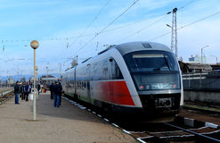 Passengers waiting train in Sofia Bulgaria, Nov 25, 2014 Royalty Free Stock Images